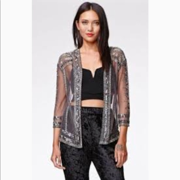 Kendall & Kylie Tops - Kendall & Kylie silver beaded jacket/cardigan OS